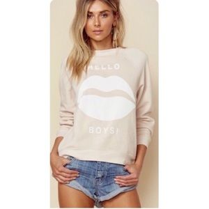 Wildfox Hello Boys Fleece Lined Pullover Sweater